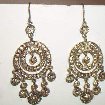 Monet Champagne Crystal Chandelier Earrings Gypsy Boho Chic Costume Jewelry