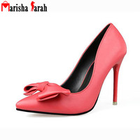 2016 Fashion Women Red Bottom High Heels Shoes Pointed Toe Solid Bowtie Pumps Lady Sexy Party Wedding Valentine Shoes Mujer