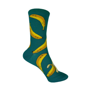 Bananas Crew Socks in Emerald