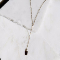 Initial Tag Lariat Necklace