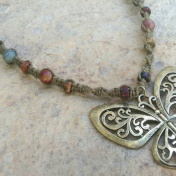 Brass Butterfly, Hemp Necklace, Jasper Gemstones, Love, Gift for Her, Summer Jewelry, Must Have, Neck Art, Free USA Shipping