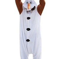 Disney Frozen Olaf Character -Adult Costumes Pajama Onesuits ( X-Large)