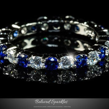 Elizabeth Sapphire Blue Eternity Stackable Ring | 4 Carat | Sterling Silver | Cubic Zirconia