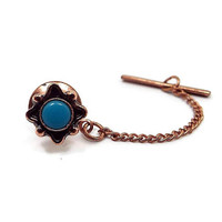 Vintage Tie Tack, Imitation Turquoise, Blue Tie Tack, Copper Plated, Retro 1980s 80s, Southwestern Jewelry, Mens Vintage Jewelry