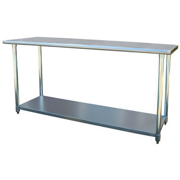2Ft x 6Ft Stainless Steel Top Utility Table Workbench Great for Kitchen or Garage