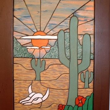 Wood Sculpture, Sun Rise in the Desert, Wooden wall Art is a wall Hanging great for Rustic Decor, Home and Living, Wood Working, Wood Art
