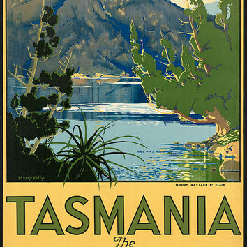 "c.1930s "" Visit Tasmania Switzerland of South "" Travel Poster-Antique-Old-Vintage Reproduction Photograph/Photo: Gicclee Print. Frame it!"