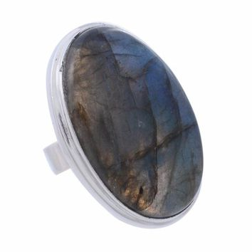 Arvino Sterling Silver Ring with Labradorite Gemstone