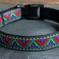 Adjustable Dog Collar-Multi-Color Aztec Pattern Collar
