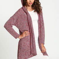 Striped Knit Hoodie Cardigan