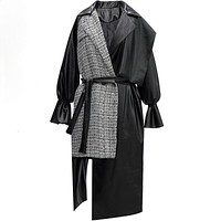 MANDEEP Ladies Irregular Faux Leather Trench Coat