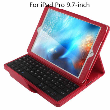 """Magnetically Detachable Hidden Wireless Bluetooth Keyboard Folio PU Leather Case Smart Cover For Apple iPad Pro 9.7"""" Inch (2016)"""
