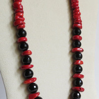Chunks of Red Coral and Black Onyx Necklace, Statteam