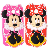 Phone Case For Samsung Galaxy J5 J500 2015 Soft Silicone Phone Back Cover 3D Cute Cartoon Minnie Pattern Case