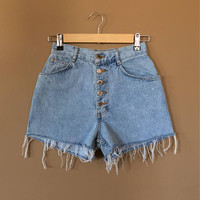 "24""/25"" High Waisted Denim Shorts/Button Fly Shorts/Vintage Shorts/Levi High Waisted Denim Shorts/Jean Shorts/Cutoff Shorts/90s Clothing"