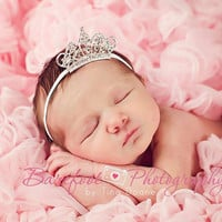 Baby Headband, Baby Tiara, Clear Rhinestone Tiara Headband, Baby Girl Princess Headband, Photo Prop, Newborn Toddler Child Girls Headband