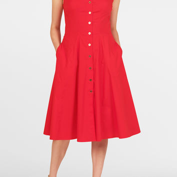 Stretch poplin A-line shirtdress
