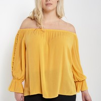 Off The Shoulder Button Sleeve Top Plus Size