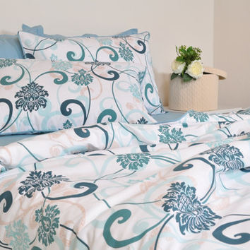 Damask Duvet Cover Set in Mint Green Teal Blue for Full Queen King Size, Damask & Swirls Print Cotton Bedding, Moroccan Style, Boho Bedding