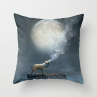 The Light of Starry Dreams (Wolf Moon) Throw Pillow by Soaring Anchor Designs