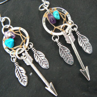 silver arrow dreamcatcher earrings turquoise and amethyst  in native american tribal boho hippie belly dancer and hipster style