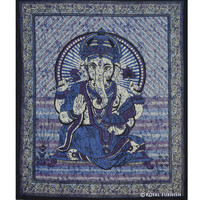 Purple Hindu God Ganesha Cotton Batik Tapestry Wall Hanging Art