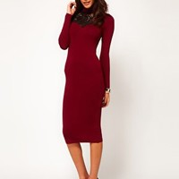 ASOS Midi Dress with Polo Neck and Lace Insert