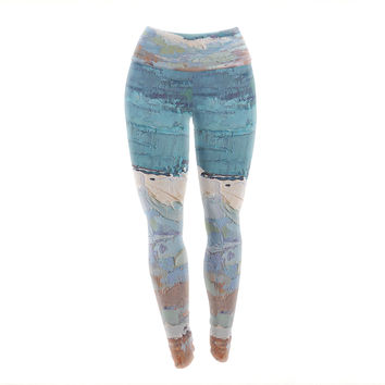 "Carol Schiff ""Surf Dreams"" Blue Painting Yoga Leggings"