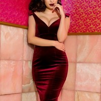 The Laura Byrnes Gilda Dress in Deep Wine Velvet