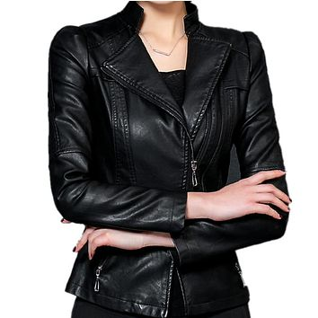 Plus Size 4XL 5XL Women PU Leather Jacket 2017 Spring Jackets Zipper Black Faux Leather Bomber Jacket Motorcycle Outerwear C3260