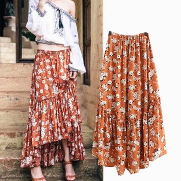 Summer new fashion print lotus leaf fishtail skirt skirt female