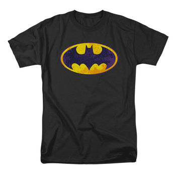 Batman Men's  Bm Neon Distress Logo T-shirt Black Rockabilia