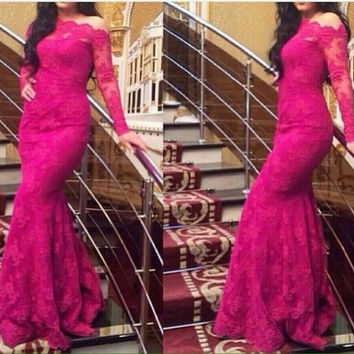 Lace Long Sleeves Prom Dress,Hot Pink Long Prom Dresses,Evening Dress