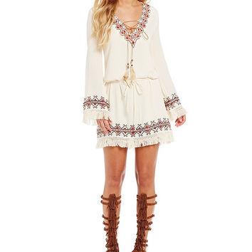 Miss Me Embroidered Fringe Dress | Dillards
