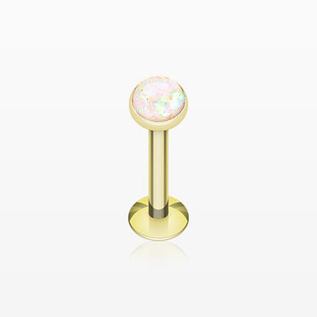 Golden Opal Glitter Shower Dome Steel Labret