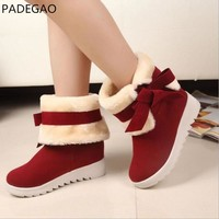 Winter Snow Boots 2017 Fashion Plush Fur Warm Women Boots Shoes Sweet Bow Cotton Padded Warm Platform Casual Ankle Boots Flats
