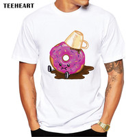 Men's Funny Donuts and Coffee Print T-Shirt  Men Summer Modal Hipster Tees