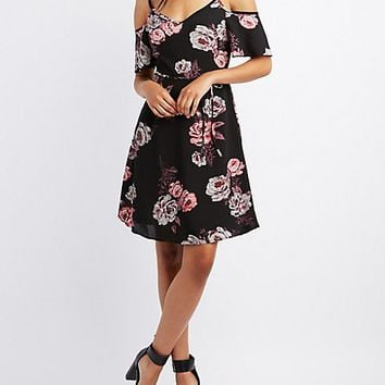 Floral Cold Shoulder Skater Dress