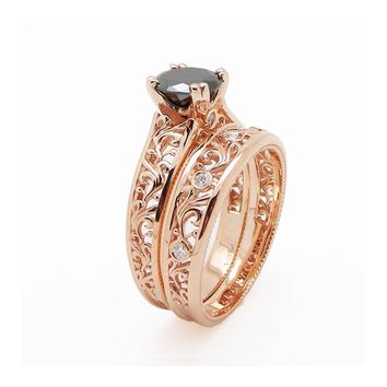 Special Reserved - 2ct Black Diamond Engagement Matching Rings 14K Rose Gold - last payment