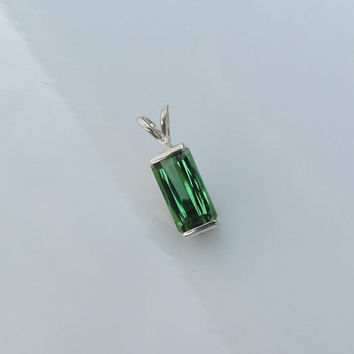Green Tourmaline Emerald Cut Over 2cts Sterling Silver Pendant October Birthstone Gemstone Jewelry