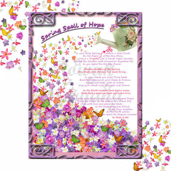SPRING SPELL of HOPE, Digital Download,  White Magick Spell, Book of Shadows Page, Grimoire, Scrapbook, Spells