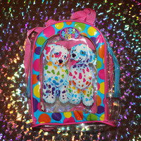90s LISA FRANK transparent/pvc/clear rainbow dalmatian puppies backpack