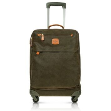 Bric's Designer Travel Bags Life Olive Green Micro Suede Carry on Trolley