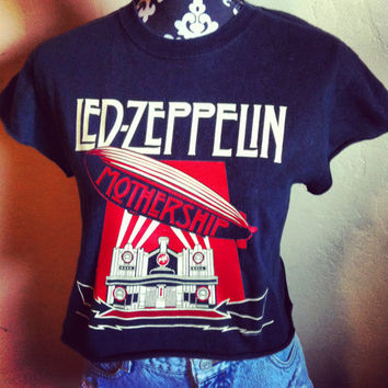 Reworked Led Zeppelin crop shirt