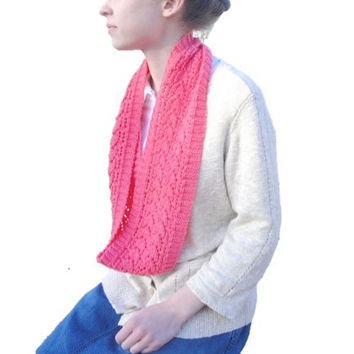 Neon Pink Infinity Scarf, Hand Knit Merino Wool, Luxury Lace Scarf, Gift for Her