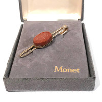 Men's Tie Clip, Gold Stone, Monet, Vintage Tie Bar, In Original Box, Mid Century, Gold Tone, Tie Clasp, Men's Accessories, Gift For Him