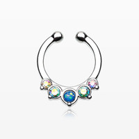 Classic Opal Precia Fake Septum Clip-On Ring