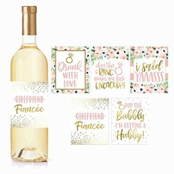 5 Engagement Party Gift Wine Labels Stickers Cute Pink Gold Newly Engaged Decoration Supplies For Couples Men Women Im Does This Ring Make Me Look Just Engaged Funny Wedding Ideas For Him Her Fiance