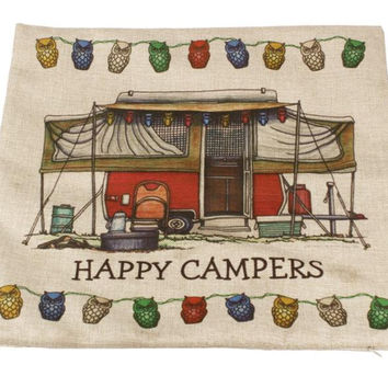 Prevalent New happy campers Letter happy campers PatternPillow Case Sofa Waist Throw Cushion Cover Home Decor