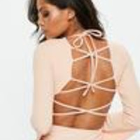 Missguided - Pink Flared Sleeve Lace Up Bodysuit